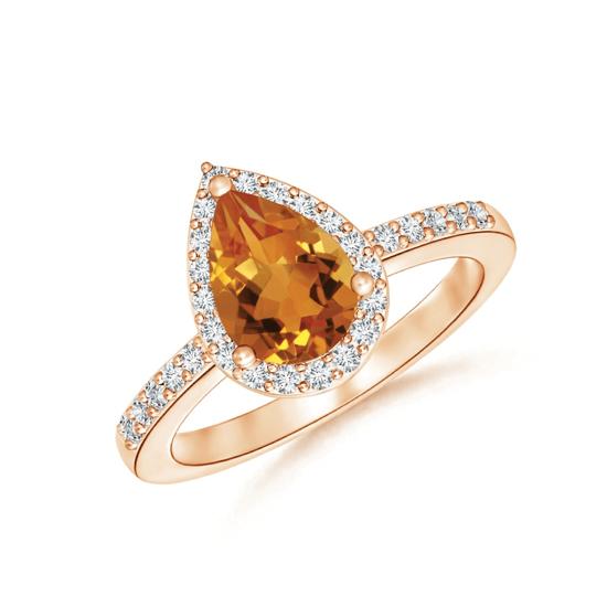 Кольцо с цитрином капля в бриллиантовом ореоле, Больше Изображение 1