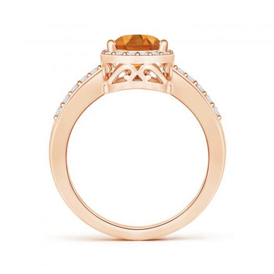 Кольцо с цитрином капля в бриллиантовом ореоле,  Больше Изображение 2
