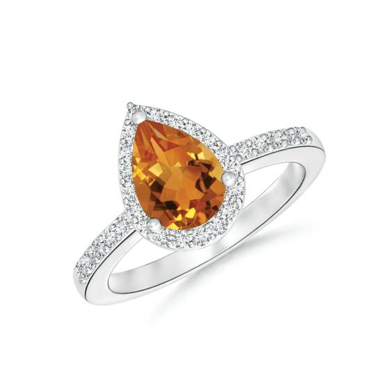 Кольцо с цитрином Груша в бриллиантовом ореоле, Больше Изображение 1