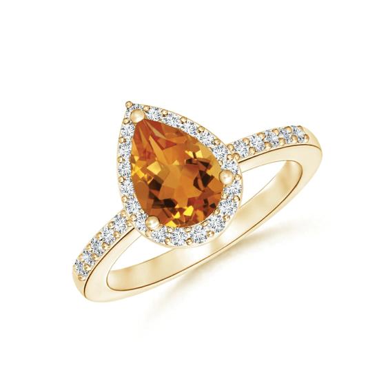 Кольцо золотое с цитрином капля и бриллиантами, Больше Изображение 1