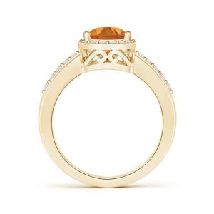 Кольцо золотое с цитрином капля и бриллиантами