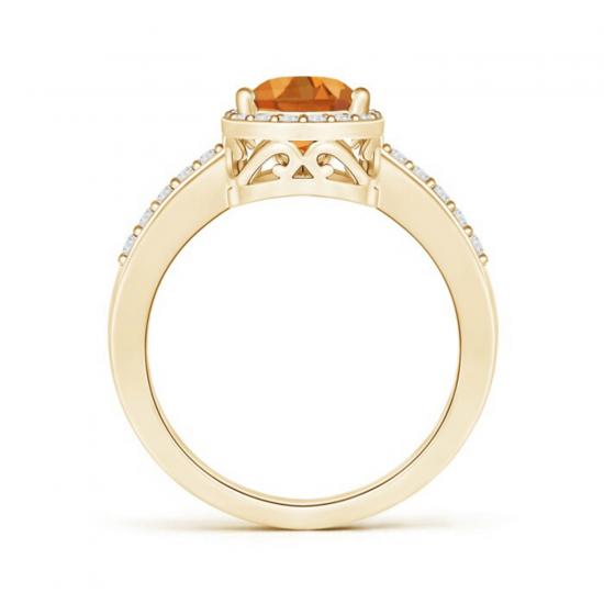 Кольцо золотое с цитрином капля и бриллиантами,  Больше Изображение 2