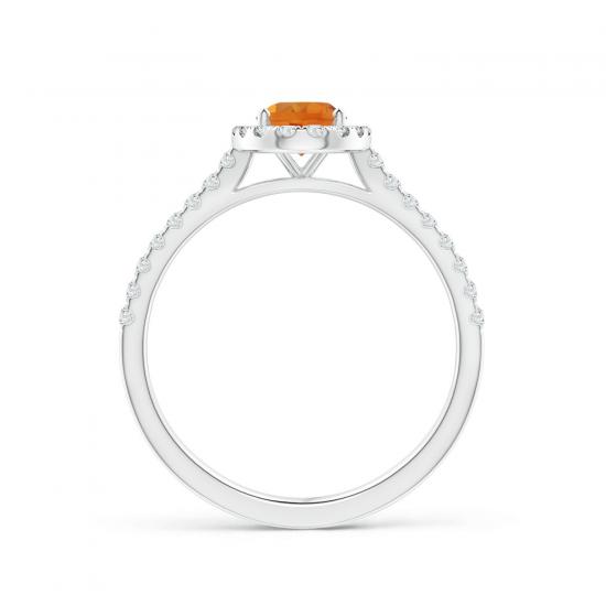 Кольцо с овальным цитрином в бриллиантовом ореоле,  Больше Изображение 2