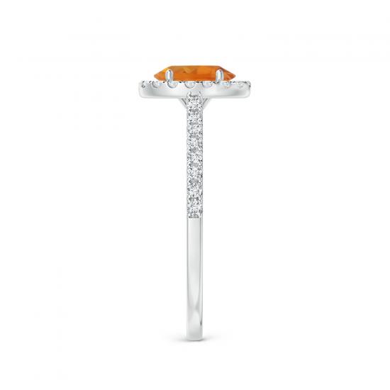 Кольцо с овальным цитрином в бриллиантовом ореоле,  Больше Изображение 3