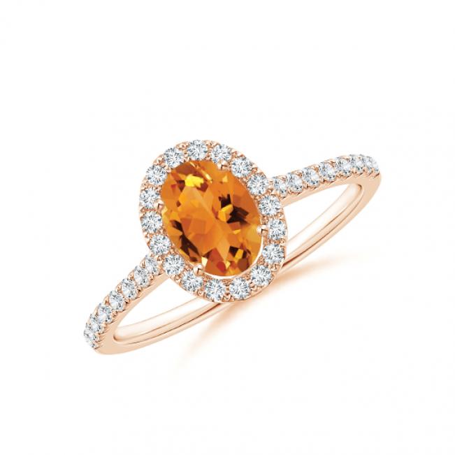 Кольцо с овальным цитрином в бриллиантовом ореоле