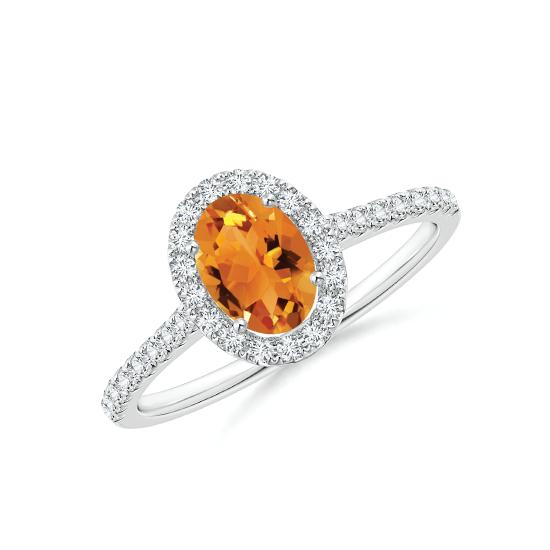 Кольцо с овальным цитрином в бриллиантовом ореоле, Больше Изображение 1
