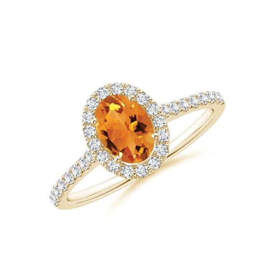 Кольцо из золота с цитрином в бриллиантовом ореоле, Больше Изображение 1