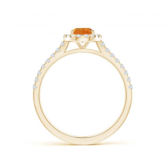 Кольцо из золота с цитрином в бриллиантовом ореоле,  Больше Изображение 2