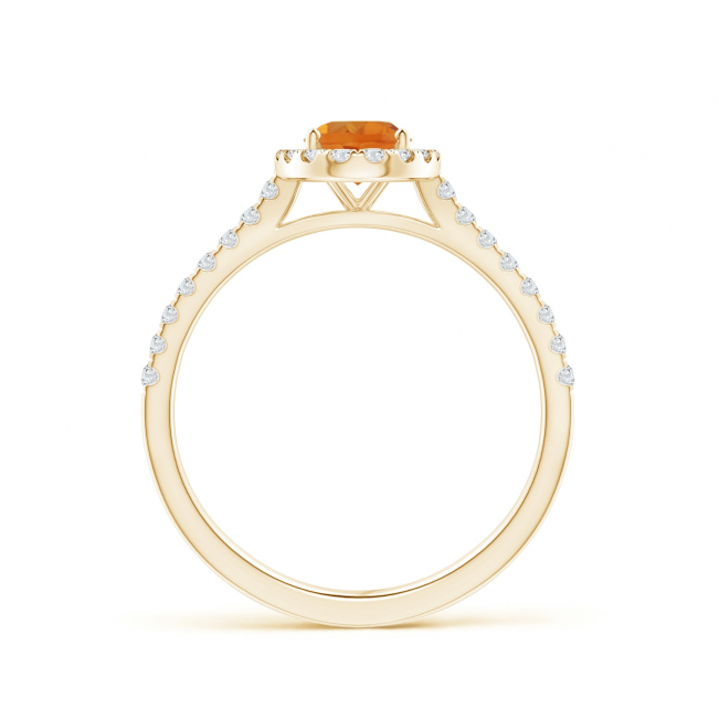 Кольцо из золота с цитрином в бриллиантовом ореоле