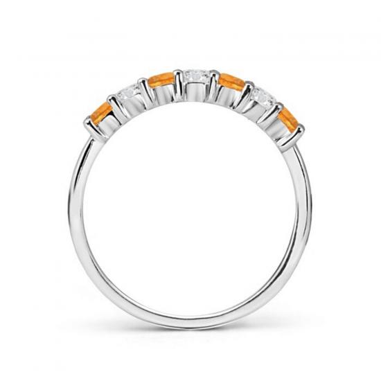 Кольцо дорожка с чередованием цитринов и бриллиантов,  Больше Изображение 2