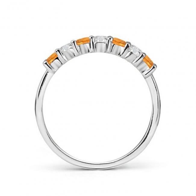 Кольцо дорожка с чередованием цитринов и бриллиантов - Фото 1