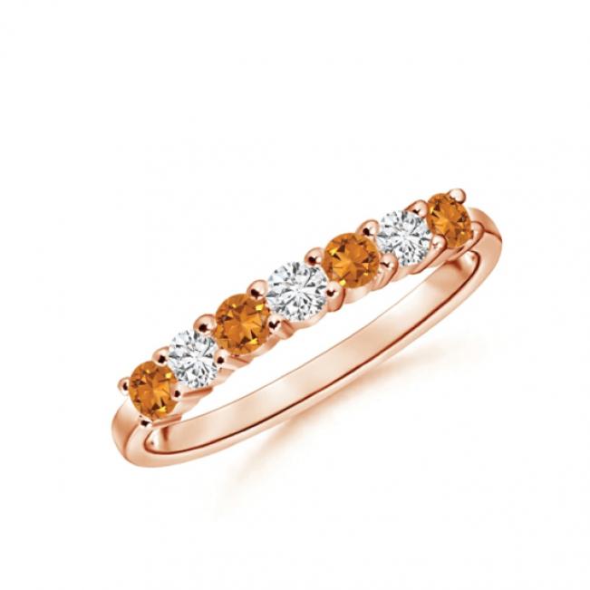 Кольцо дорожка с цитринами и бриллиантами