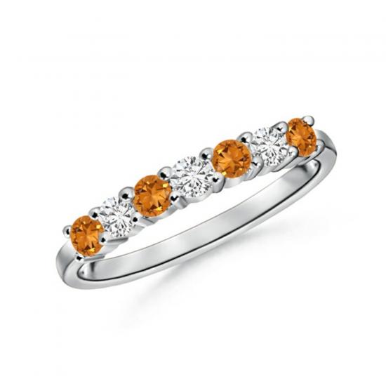 Кольцо дорожка с чередованием цитринов и бриллиантов, Больше Изображение 1