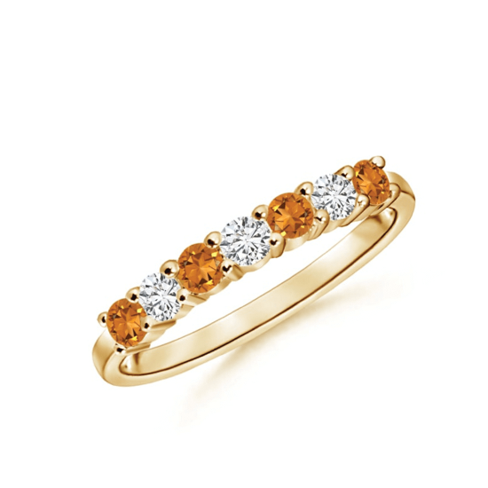 Кольцо дорожка из золота с цитринами и бриллиантами, Больше Изображение 1