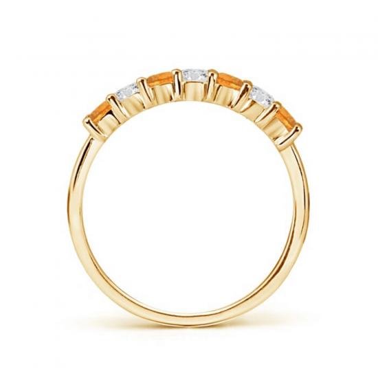 Кольцо дорожка из золота с цитринами и бриллиантами,  Больше Изображение 2