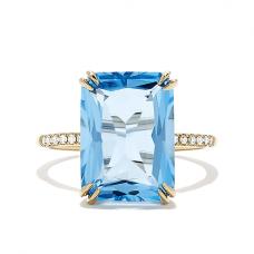 Кольцо с голубым топазом 8 карат и бриллиантами