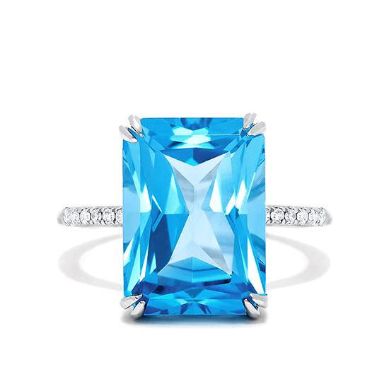 Кольцо с голубым топазом и бриллиантами, Больше Изображение 1