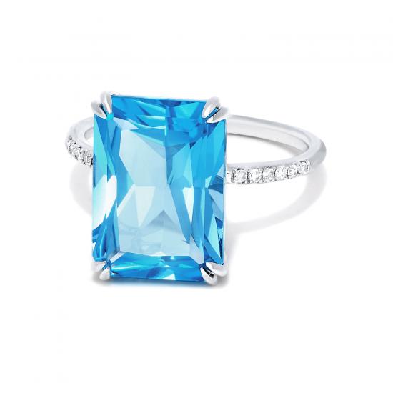 Кольцо с голубым топазом и бриллиантами,  Больше Изображение 2