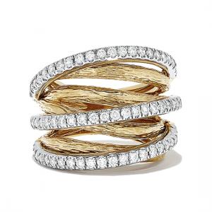 Кольцо широкое из желтого и белого золота с бриллиантами