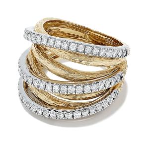 Кольцо широкое из желтого и белого золота с бриллиантами - Фото 1