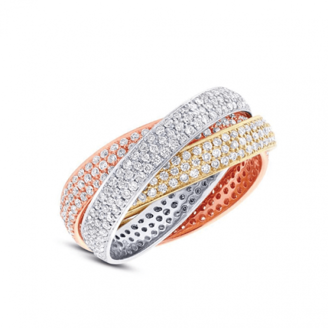 Обручальное кольцо  3 золота с бриллиантами