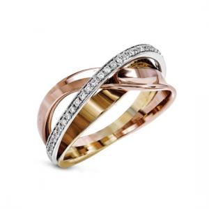 Обручальное кольцо золотой микс с бриллиантами
