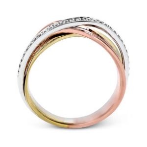 Обручальное кольцо золотой микс с бриллиантами - Фото 1