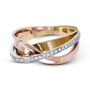 Обручальное кольцо золотой микс с бриллиантами - Фото 2