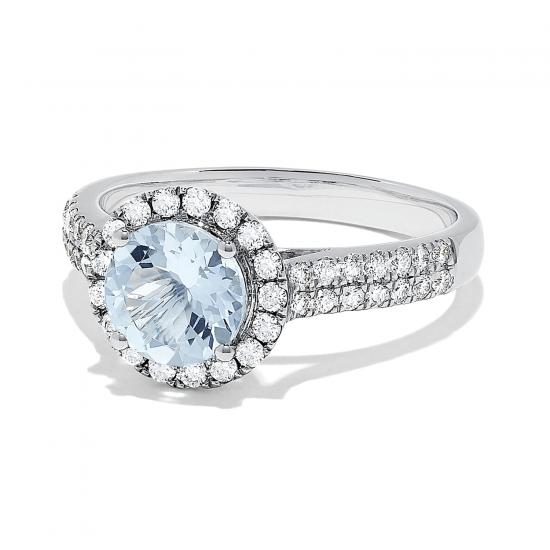 Кольцо с аквамарином 1,15 карата и бриллиантами,  Больше Изображение 2