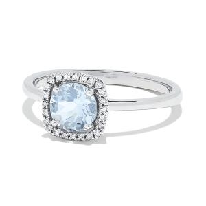 Кольцо с круглым аквамарином в бриллиантовом ореоле