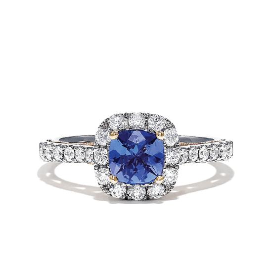 Кольцо с танзанитом кушон в бриллиантовом ореоле, Больше Изображение 1