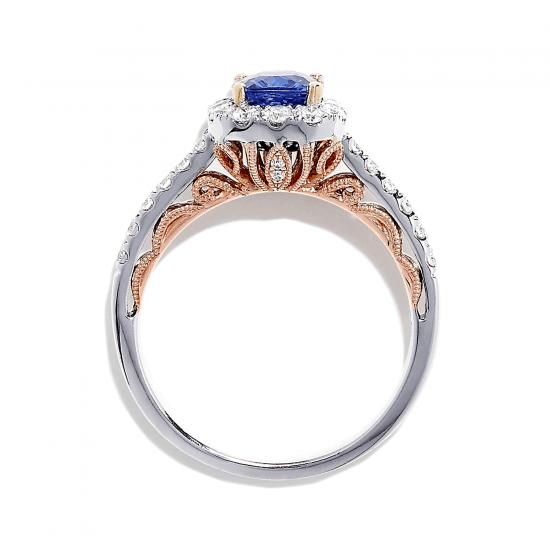 Кольцо с танзанитом кушон в бриллиантовом ореоле,  Больше Изображение 2