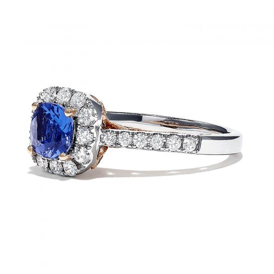 Кольцо с танзанитом кушон в бриллиантовом ореоле,  Больше Изображение 3