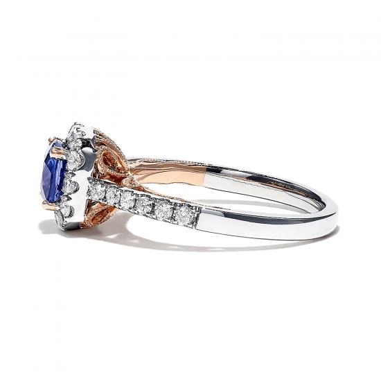 Кольцо с танзанитом кушон в бриллиантовом ореоле,  Больше Изображение 4