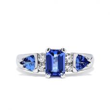 Кольцо с танзанитами и бриллиантами