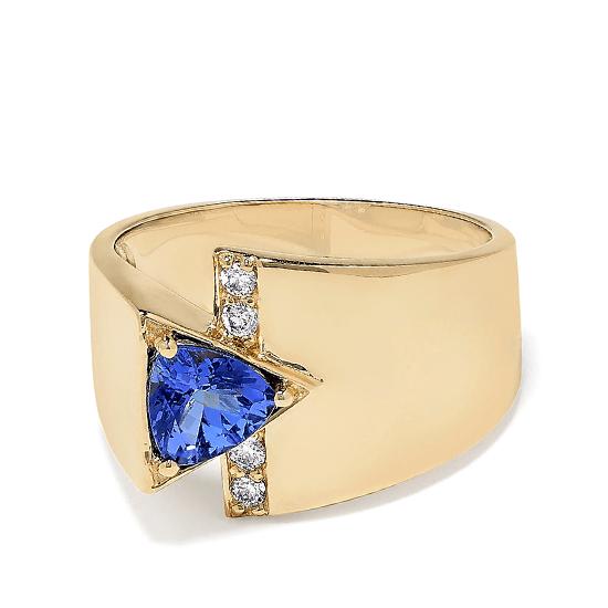 Кольцо с треугольным танзанитом и бриллиантами, Больше Изображение 1