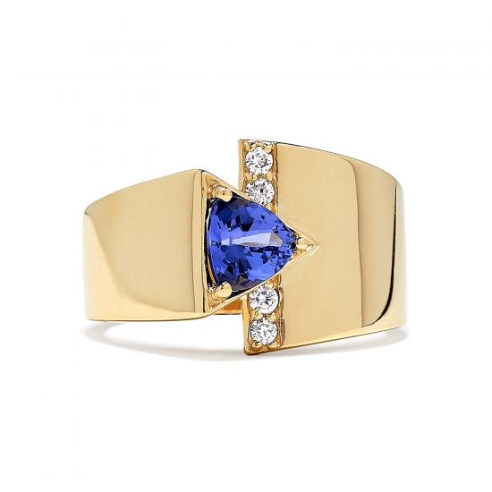 Кольцо с треугольным танзанитом и бриллиантами,  Больше Изображение 2