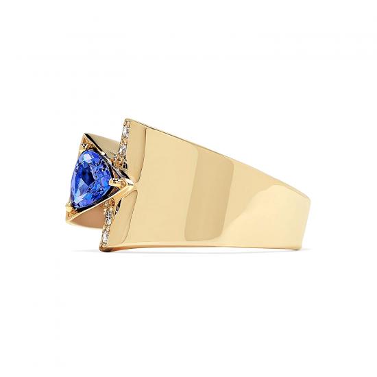 Кольцо с треугольным танзанитом и бриллиантами,  Больше Изображение 3