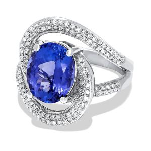 Кольцо с овальным танзанитом и бриллиантами