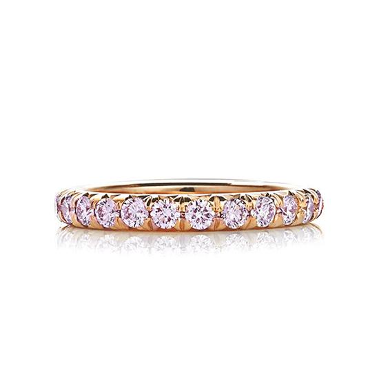 Кольцо дорожка с розовыми бриллиантами по кругу, Больше Изображение 1
