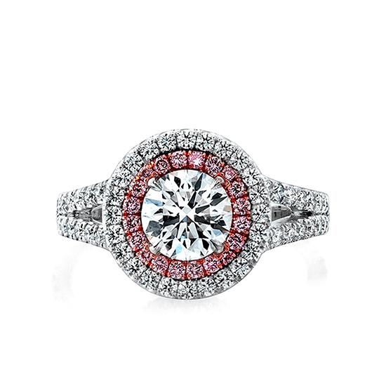 Кольцо с бриллиантом в двойном ореоле, Больше Изображение 1