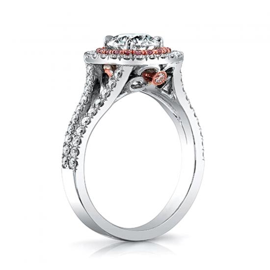 Кольцо с бриллиантом в двойном ореоле,  Больше Изображение 2