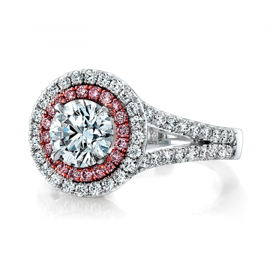 Кольцо с бриллиантом в двойном ореоле,  Больше Изображение 3