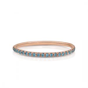 Кольцо дорожка с голубыми бриллиантами