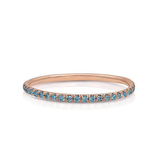 Кольцо дорожка с голубыми бриллиантами, Больше Изображение 1