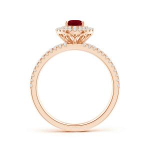 Кольцо лвойное с рубином и бриллиантами - Фото 1