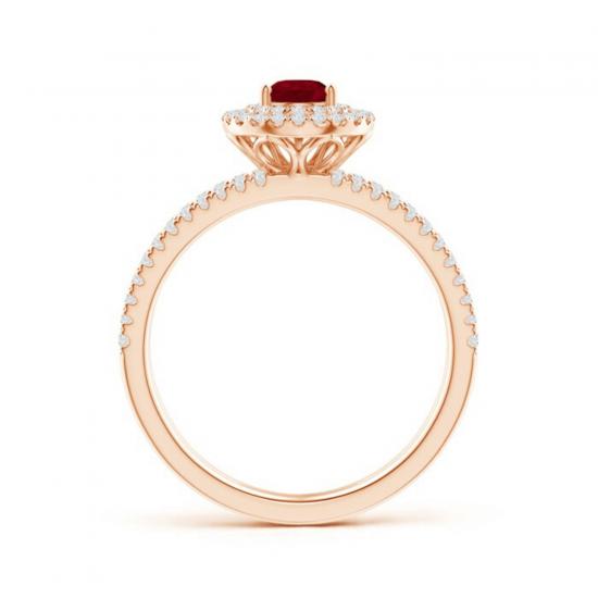 Кольцо лвойное с рубином и бриллиантами,  Больше Изображение 2