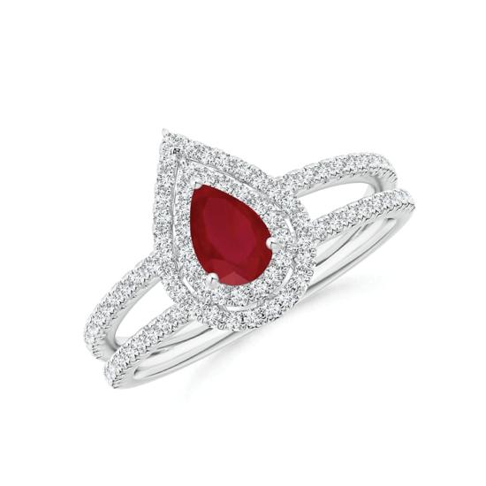 Кольцо с рубином Груша и бриллиантами, Больше Изображение 1