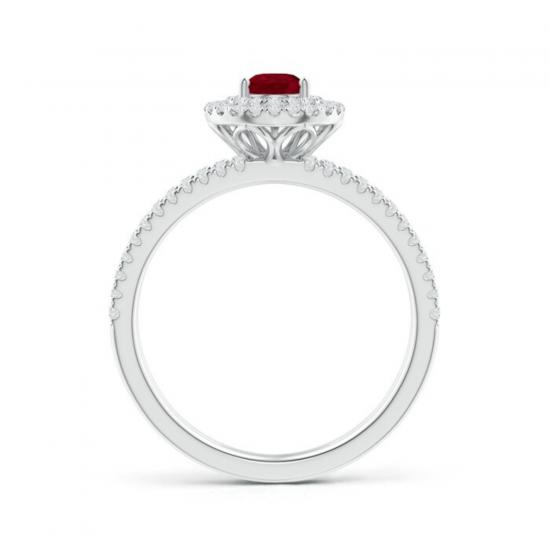 Кольцо с рубином Груша и бриллиантами,  Больше Изображение 2