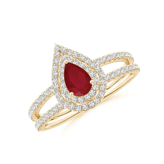Кольцо двойное из золота с рубином и бриллиантами, Больше Изображение 1